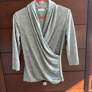 New York and company 3/4 sleeve wrap shirt